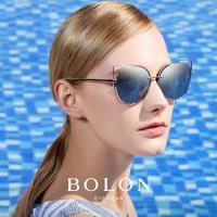 【BOLON 暴龍】大牌巨星時尚流行男仕女仕墨鏡太陽眼鏡(金屬板材簍空貓眼大框BL7008偏光款)