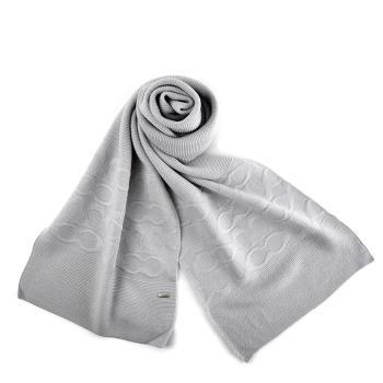 COACH 針織感浮雕LOGO羊毛圍巾-淺灰色