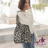 【iSPurple】緞帶豹紋*輕巧大容量購物肩背手提包