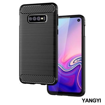 YANGYI揚邑-SAMSUNG Galaxy S10 碳纖維拉絲紋軟殼散熱防震抗摔手機殼-黑