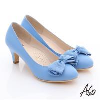 A.S.O 氣質名媛 全真皮雙蝴蝶結甜美高跟鞋- 淺藍
