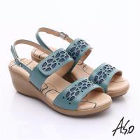 A.S.O 挺麗氣墊 全真皮寬楦鏤空氣墊楔型涼鞋- 藍