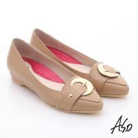 A.S.O 職場女力 柔軟真皮皮帶飾扣低跟鞋- 卡其