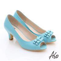A.S.O 氣質名媛 全真皮蝴蝶魚口高跟鞋- 淺藍