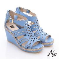A.S.O 玩美涼夏 全真皮波希米亞風彈力楔型涼鞋- 淺藍