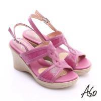 A.S.O 挺麗氣墊 全真皮寬楦鏤空氣墊楔型涼鞋- 桃粉紅