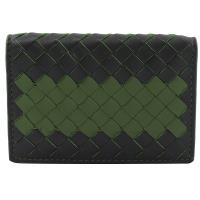BOTTEGA VENETA 464902 手工編織撞色皮革名片夾.黑綠