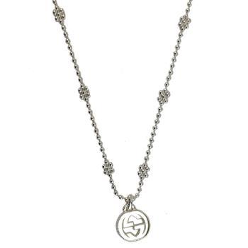 GUCCI Interlocking G 925純銀雙G墜飾雪花項鍊
