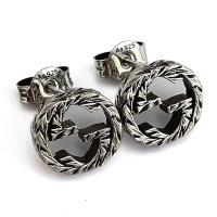 GUCCI 復古925純銀雕花 Interlocking G 925純銀雙G墜飾耳環