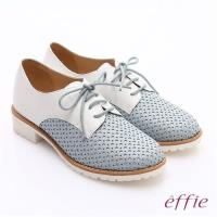 effie 都會休閒 經典牛皮拼色綁帶牛津平底鞋 淺藍