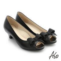 A.S.O 璀璨注目 羊皮水鑽奈米低跟魚口鞋- 黑