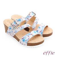 effie 嬉皮假期 真皮彩色繽紛印花厚底涼拖鞋- 淺藍