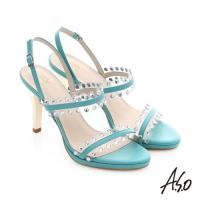A.S.O 星光注目 璀璨水鑽飾釦高跟涼鞋- 綠
