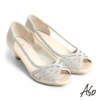 A.S.O 星光注目 全真皮水鑽拼接網布魚口跟鞋- 卡其