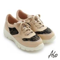 A.S.O 輕量抗震 全真皮拼接蕾絲綁帶奈米休閒鞋- 卡其