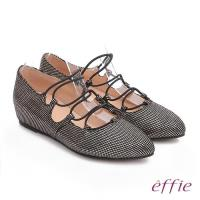 effie 都會舒適 絨面羊皮金箔內增高綁帶鞋 金
