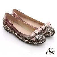 A.S.O 奢華美型 真皮金屬圖騰結飾平底鞋- 古銅