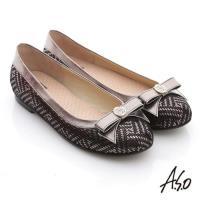 A.S.O 奢華美型 真皮金屬圖騰結飾平底鞋- 黑