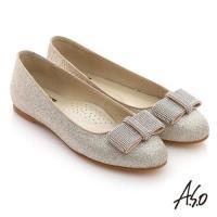 A.S.O 奢華美型 全真皮蝴蝶結金蔥平底鞋 金