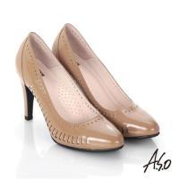 A.S.O 輕透美型 鏡面真皮側鏤空高跟鞋- 卡其