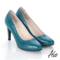 A.S.O 輕透美型 鏡面真皮側鏤空高跟鞋- 藍