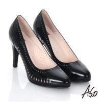 A.S.O 輕透美型 鏡面真皮側鏤空高跟鞋- 黑