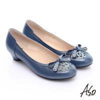 A.S.O 3E舒活寬楦 全真皮動物紋鞋面奈米低跟鞋- 藍