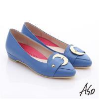 A.S.O 職場女力 柔軟真皮皮帶飾扣低跟鞋- 藍