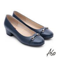 A.S.O 3E舒活寬楦 全牛皮飾帶窩心奈米低跟鞋- 深藍