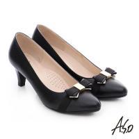 A.S.O 優雅美型 金屬織帶蝴蝶結窩心靜音高跟鞋- 黑