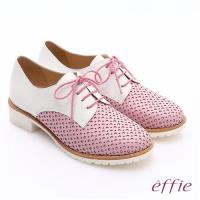 effie 都會休閒 經典牛皮拼色綁帶牛津平底鞋 粉紅