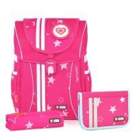 TigerFamily  學院風超輕量護脊書包-粉紅星星(含文具袋+鉛筆盒)