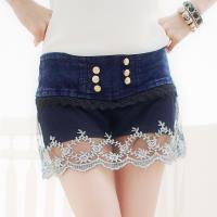 小尺碼-接蕾絲網紗飾排釦牛仔低腰褲裙(率性藍)lingling