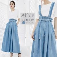 【Abbie】日系新款時尚鬆緊腰頭吊帶寬褲