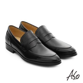 A.S.O 職人通勤 簡約全真皮直套式紳士皮鞋- 黑