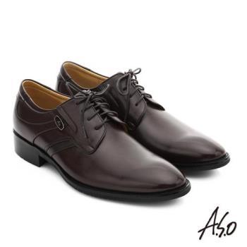 A.S.O 菁英通勤 真皮綁帶奈米紳士鞋- 咖啡