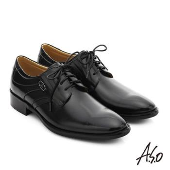 A.S.O 菁英通勤 真皮綁帶奈米紳士鞋- 黑