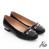 A.S.O 舒活寬楦 牛皮層次飾扣奈米窩心低跟鞋- 黑