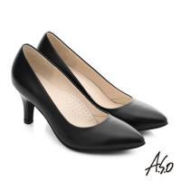 A.S.O 職人通勤 全真皮素面窩心高跟鞋- 黑軟皮