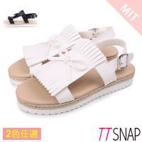 TTSNAP涼鞋-休閒流蘇雙層厚底涼鞋 黑/白/銀/咖