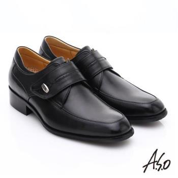 A.S.O 超輕雙核心 牛皮小方楦魔鬼氈奈米紳士鞋- 黑