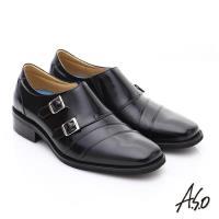 A.S.O 菁英通勤 雙飾扣鏡面牛皮奈米皮鞋- 黑