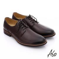 A.S.O 職人通勤 簡約全真皮綁帶紳士皮鞋- 咖啡