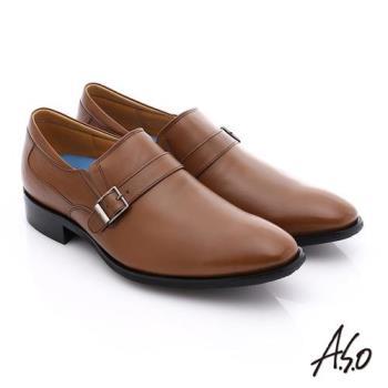 A.S.O 菁英通勤 小牛皮飾帶奈米紳士皮鞋- 茶
