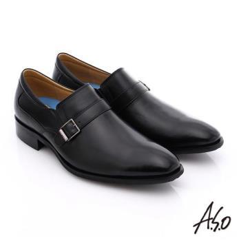 A.S.O 菁英通勤 小牛皮飾帶奈米紳士皮鞋- 黑
