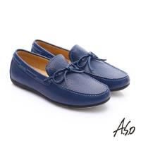 A.S.O 輕量抗震 真皮結飾縫線奈米樂福鞋- 深藍