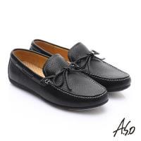 A.S.O 輕量抗震 真皮結飾縫線奈米樂福鞋- 黑
