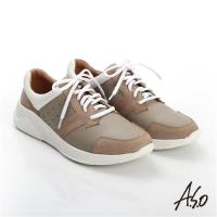 A.S.O 輕量抗震 磨砂真皮綁帶奈米休閒鞋- 卡其