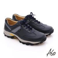 A.S.O 前彈性後避震II 壓紋牛軟皮綁帶奈米休閒鞋- 深藍