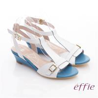 effie 軟芯系列 真皮軟墊T字楔型涼鞋- 白